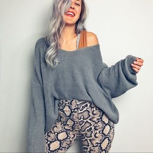 Grey Oversized Boxy Sweater